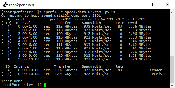 Data102 iperf speed test